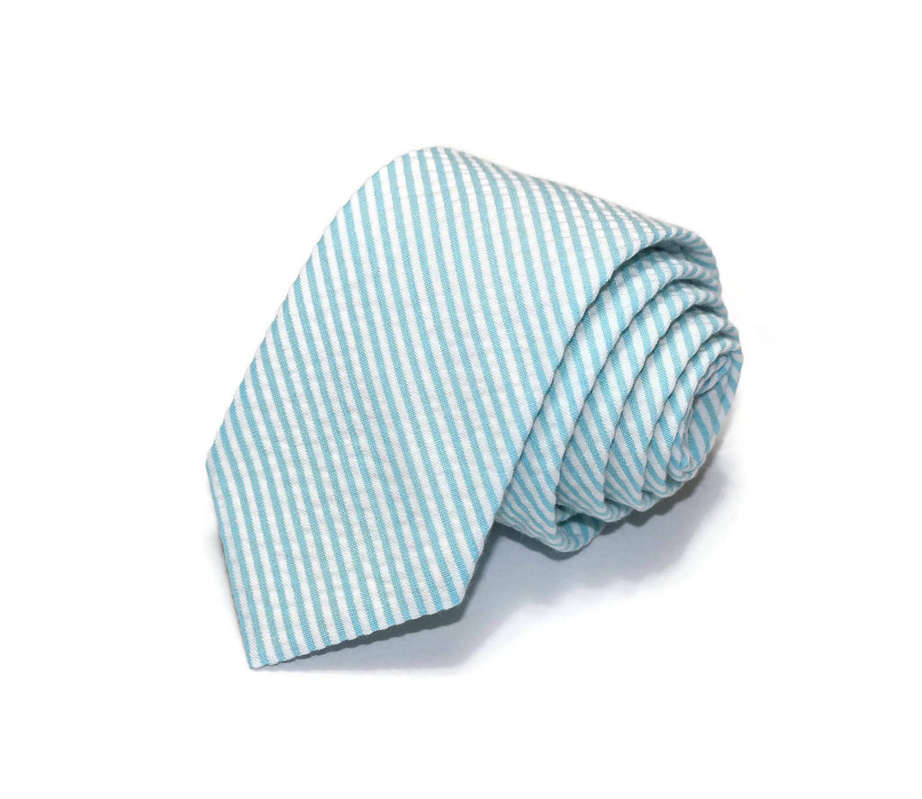 Sky Blue Seersucker Necktie - Youth