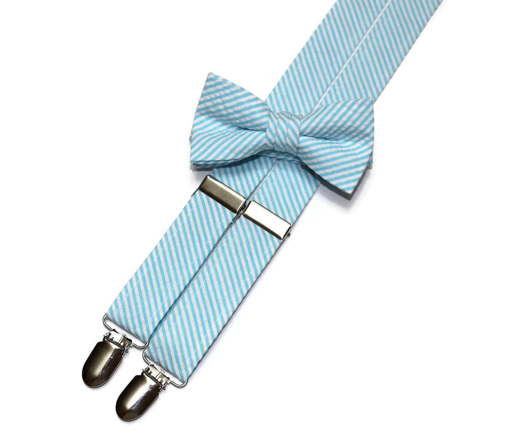 Sky Blue Seersucker Suspenders - Boys