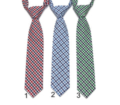 Tattersall Check Necktie - Boys Pre-Tied