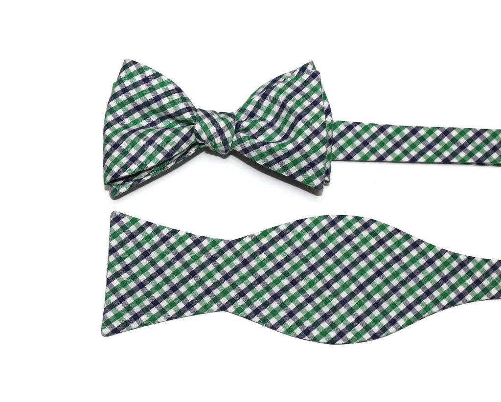 Kelly Green & Navy Tattersall Cummerbund & Bow Tie
