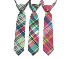 Madras Plaid Neckties - Boys Pre-Tied