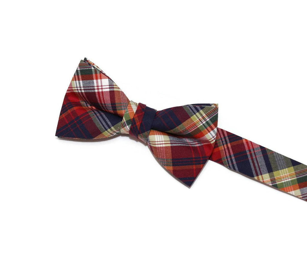 boys plaid bow tie, multi-colored plaid