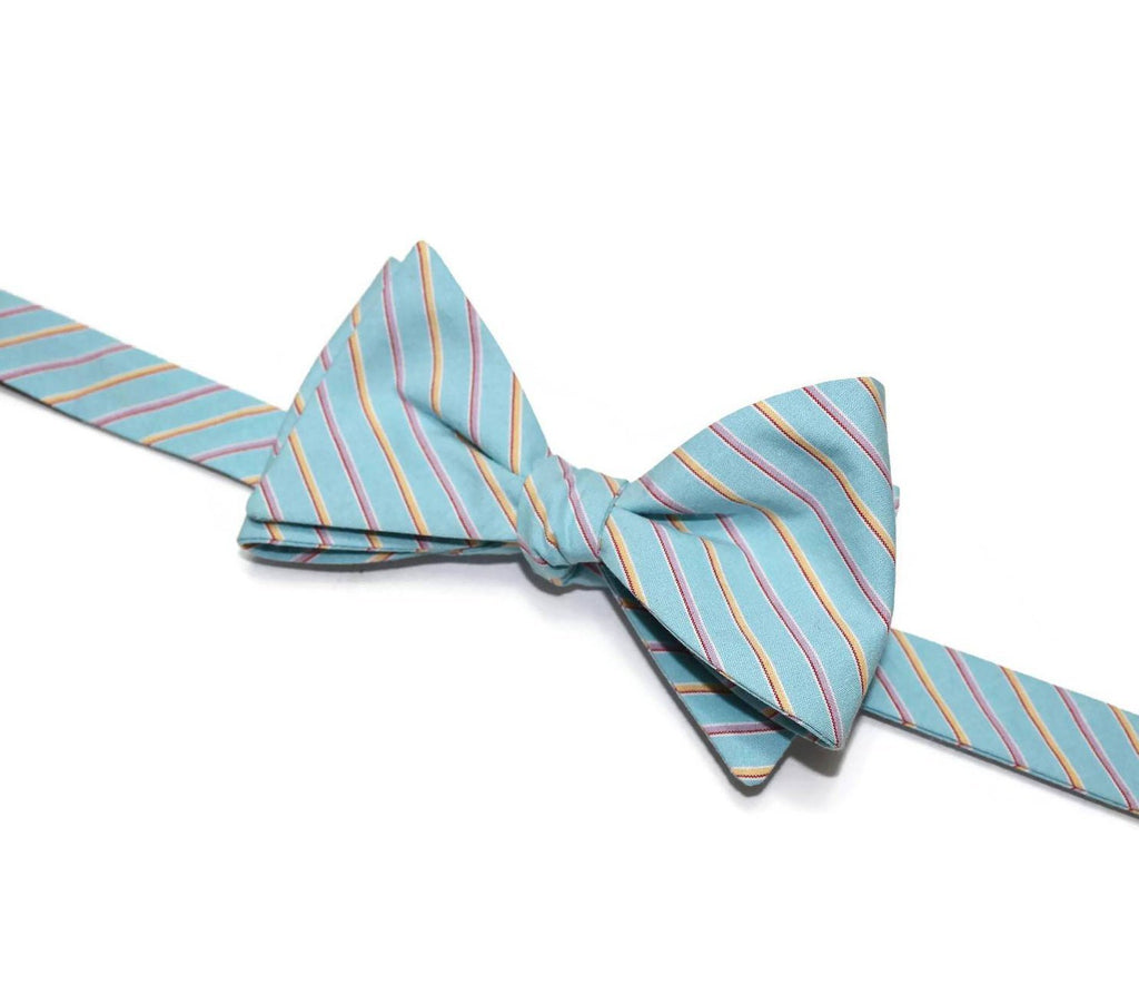 Aqua Blue Stripe Bow Tie