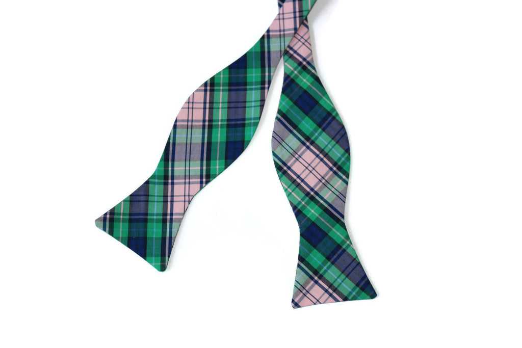 Green, Pink & Navy Plaid Bow Tie - Boys (Self Tie)