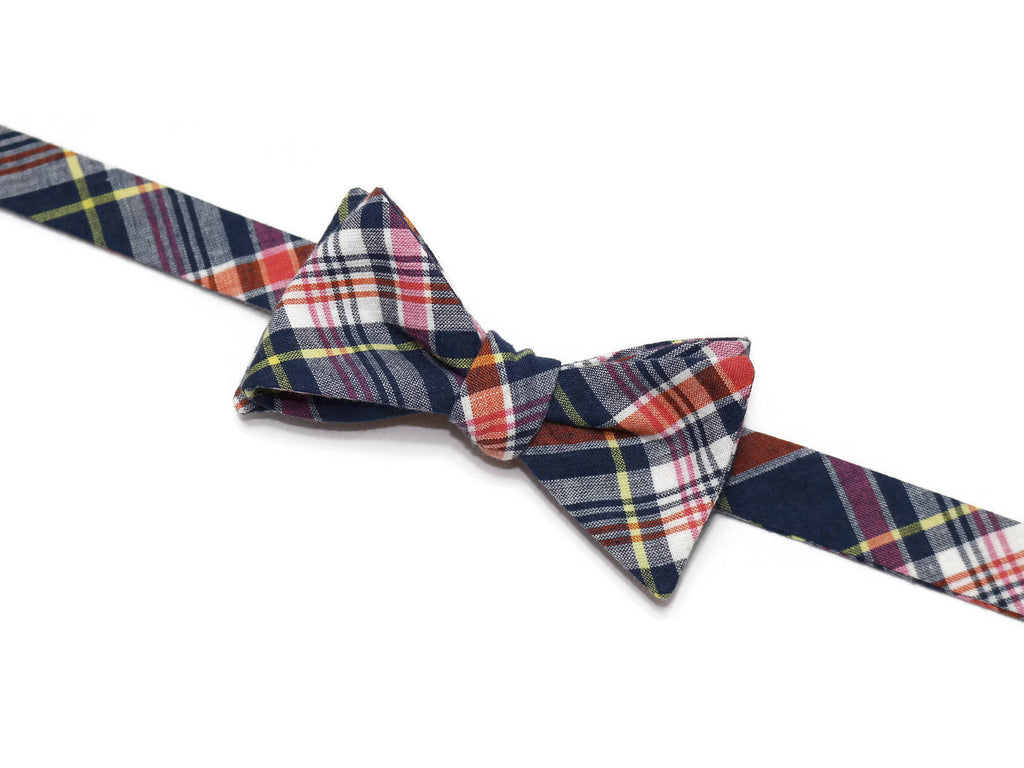 Navy Blue Madras Plaid Bow Tie - Boys (Self Tie)