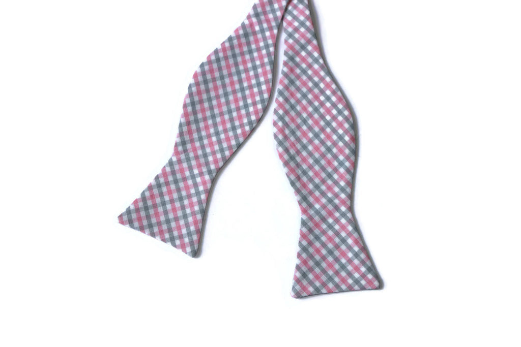 Gray & Pink Tattersall Bow Tie - Boys (Self Tie)