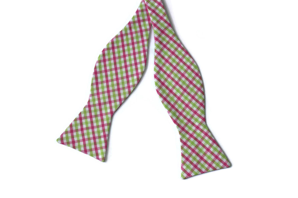 Pink & Lime Green Tattersall Bow Tie - Boys (Self Tie)