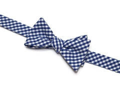 Nautical Blue Gingham Check Bow Tie - Boys (Self Tie)