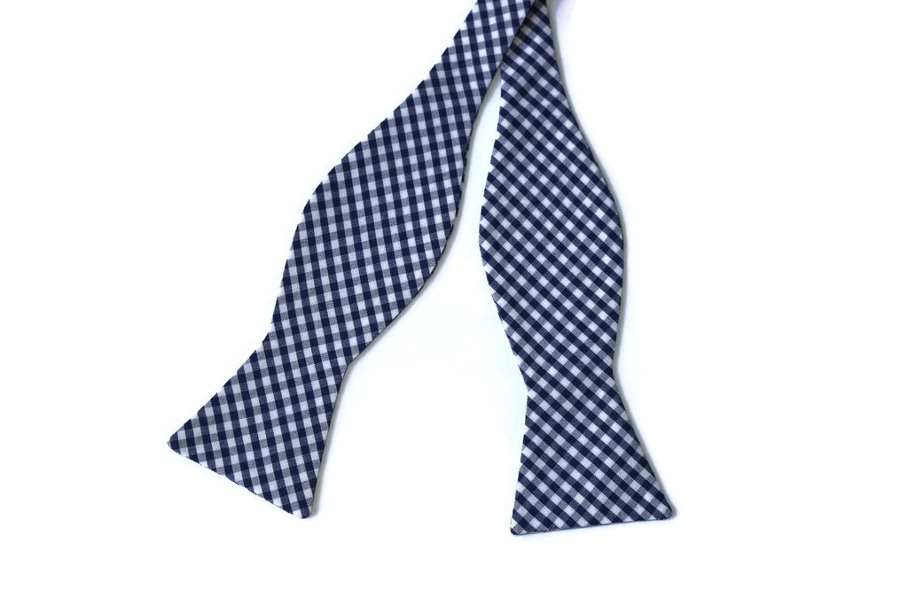 Navy Blue Gingham Check Bow Tie - Boys (Self Tie)
