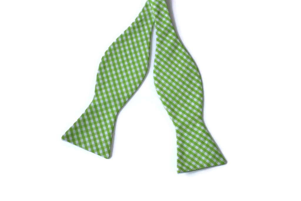 Lime Green Gingham Check Bow Tie - Boys (Self Tie)
