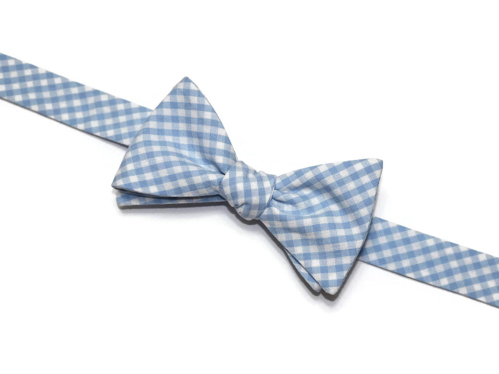 Light Blue Gingham Check Bow Tie - Boys (Self Tie)