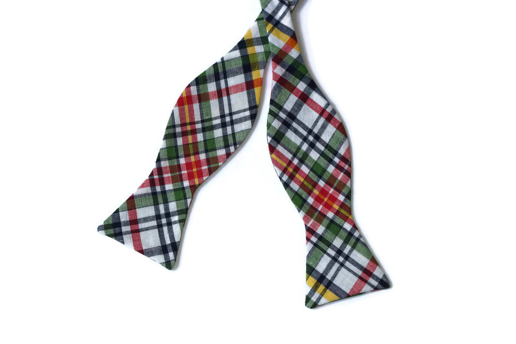 Green Madras Plaid Bow Tie - Boys (Self Tie)