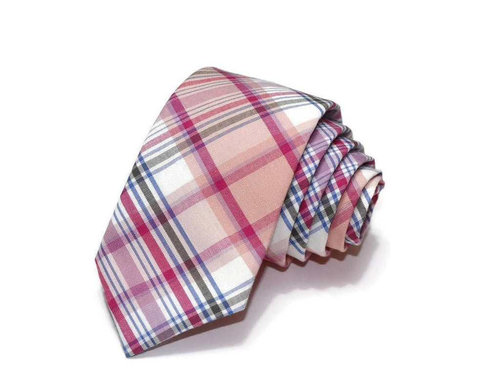 Pink Plaid Necktie
