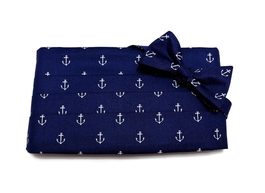 Navy Anchors Cummerbund & Bow Tie