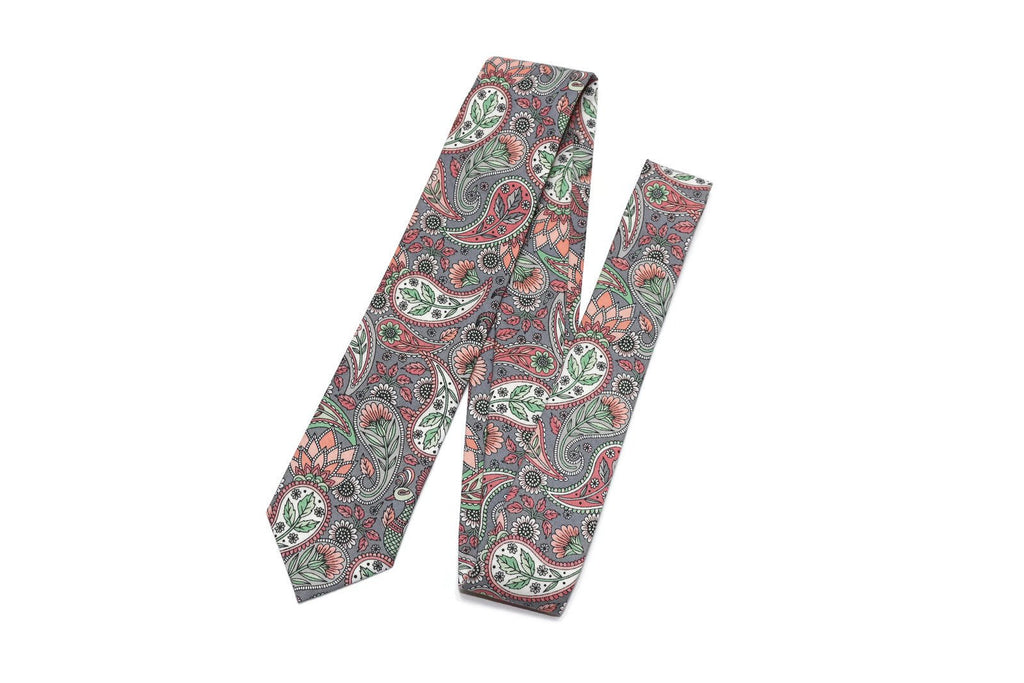 Blush & Gray Paisley Floral Necktie