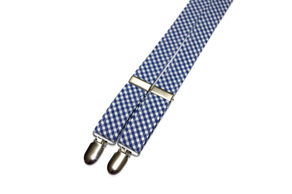 Nautical Blue Gingham Check Suspenders - Boys