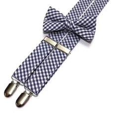 Navy Blue Gingham Check Suspenders - Boys