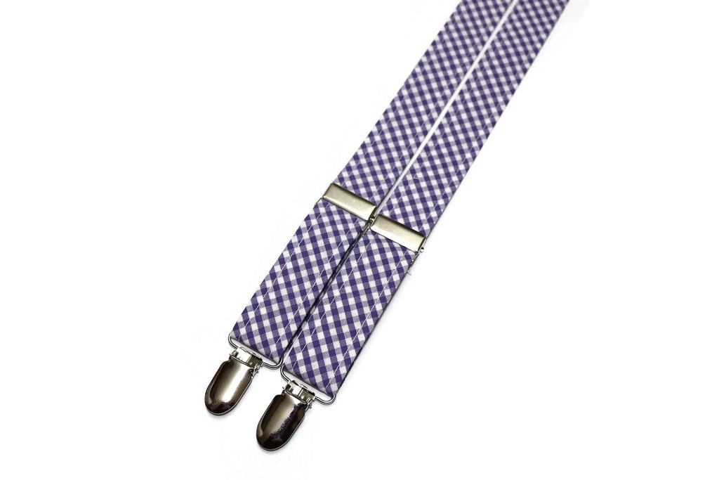 Purple Gingham Check Suspenders - Boys