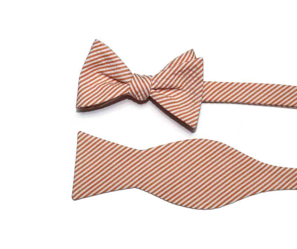Orange Seersucker Cummerbund & Bow Tie