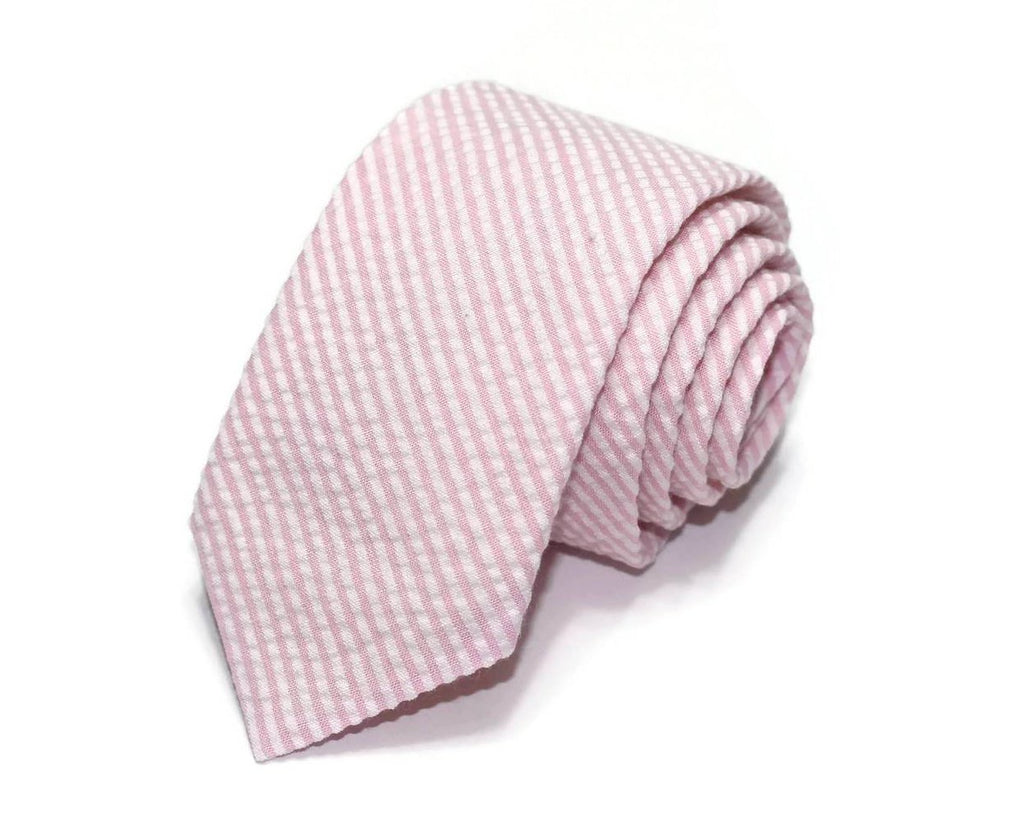Pink Seersucker Necktie - Youth