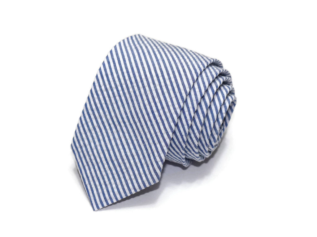 Royal Blue Seersucker Necktie - Youth