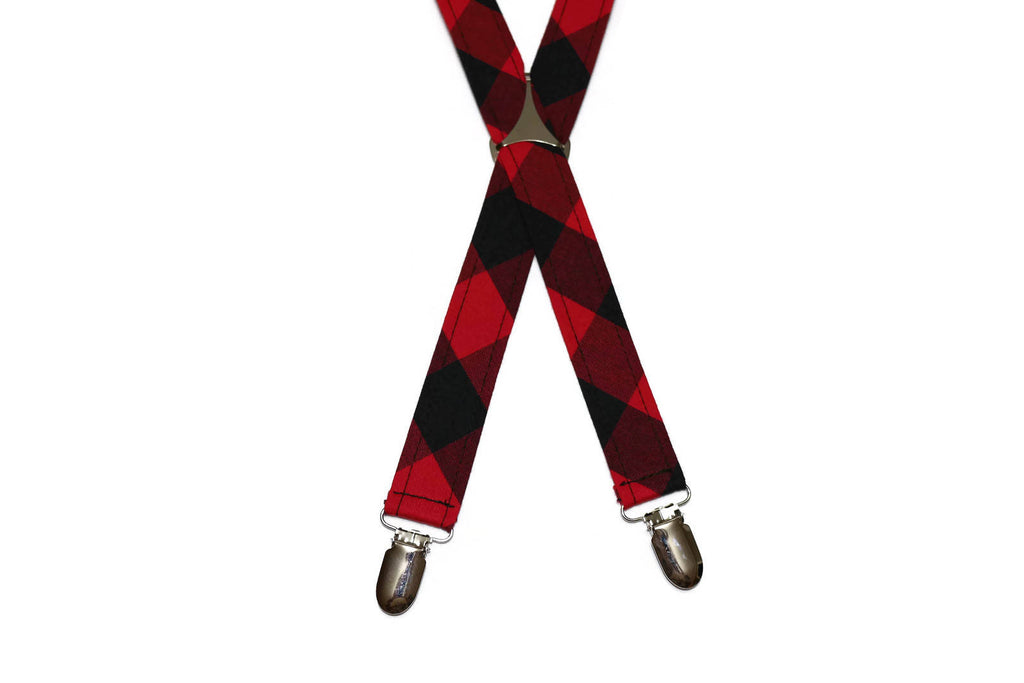 Red & Black Buffalo Plaid Suspenders - Boys