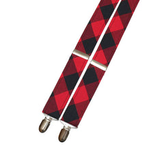 Red & Black Buffalo Plaid Suspenders - Mens