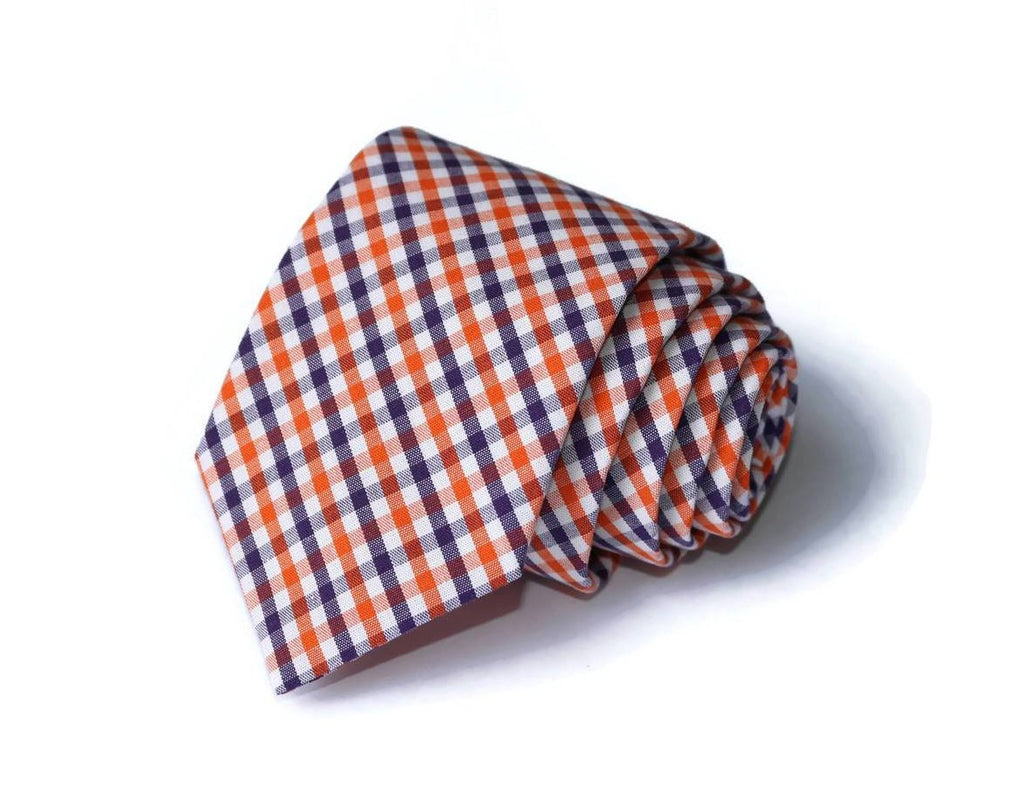 Orange & Purple Tattersall Necktie - Youth