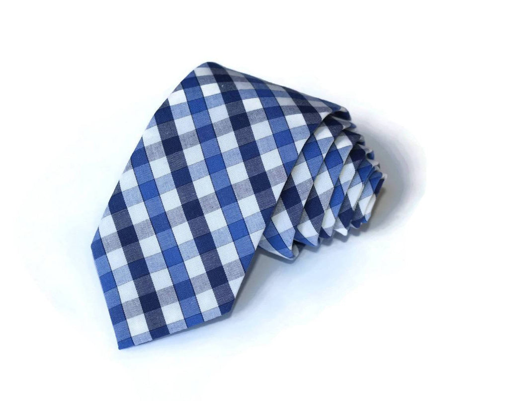 Navy & Blue Plaid Check Necktie - Youth