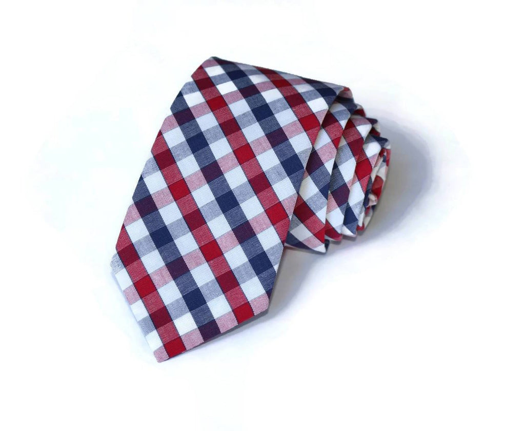 Navy & Red Plaid Check Necktie - Youth