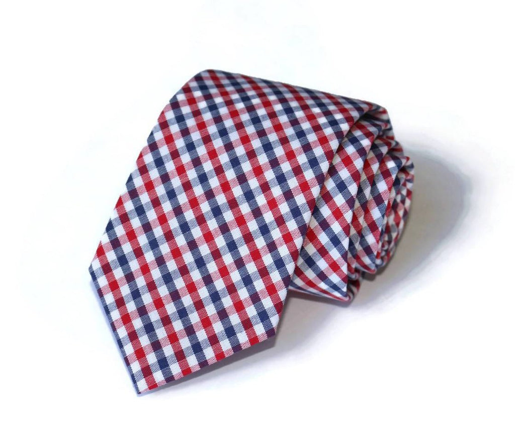 Navy & Red Tattersall Necktie - Youth