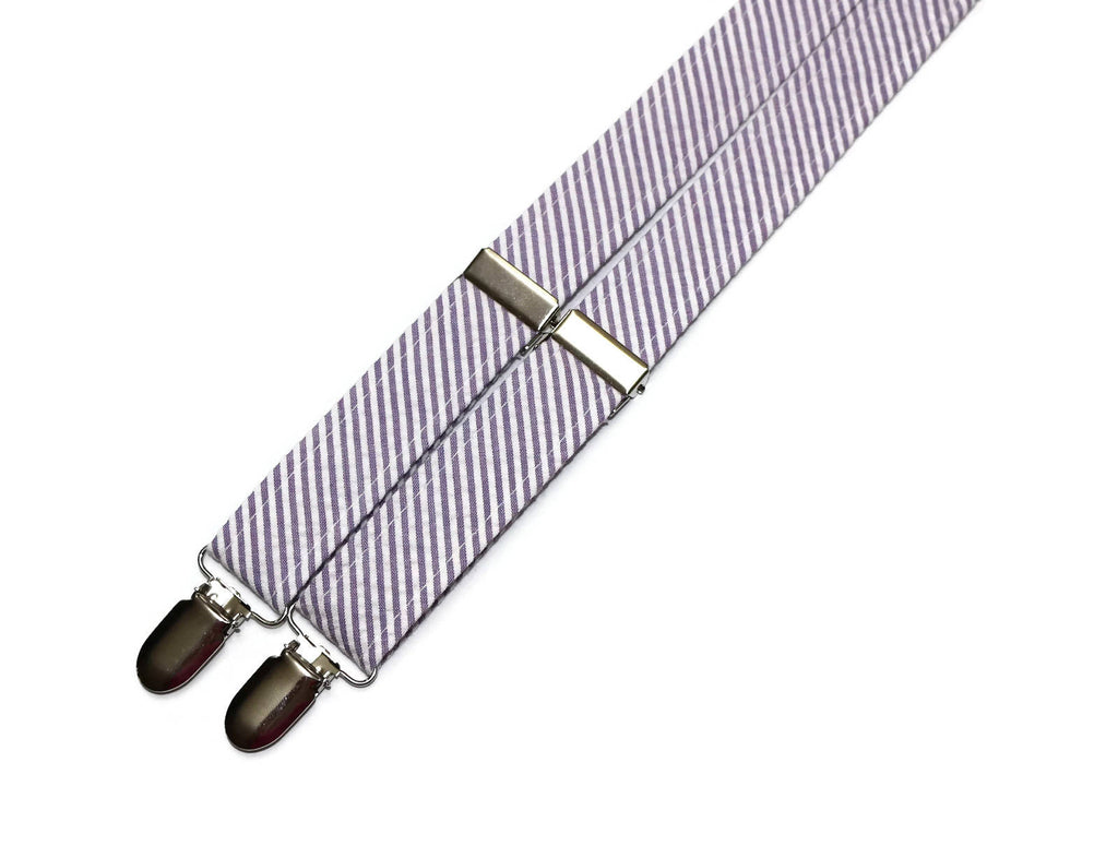 Purple Seersucker Suspenders - Boys