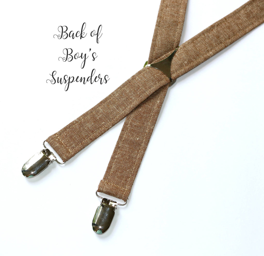 Khaki Seersucker Suspenders - Boys