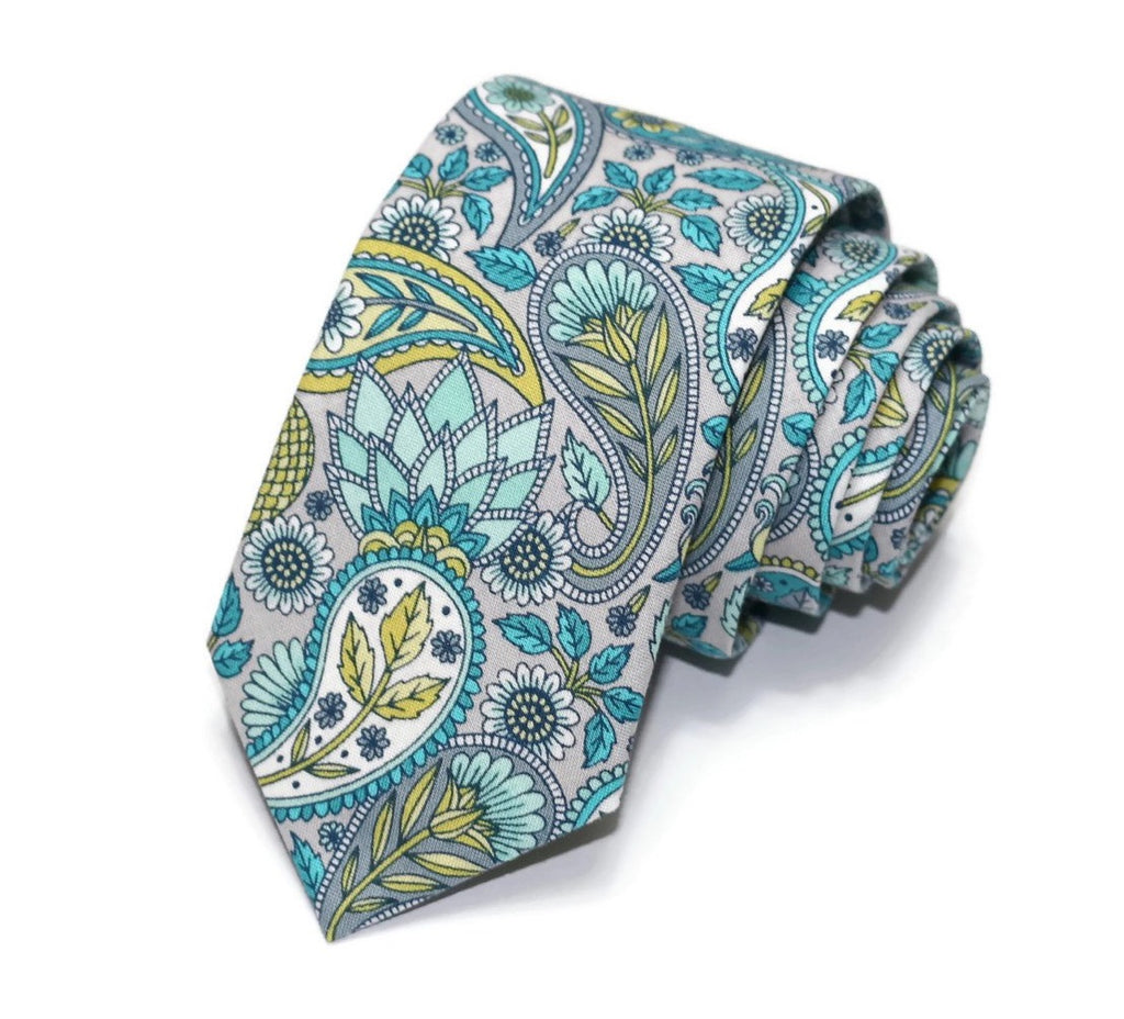 Teal & Gray Paisley Floral Necktie
