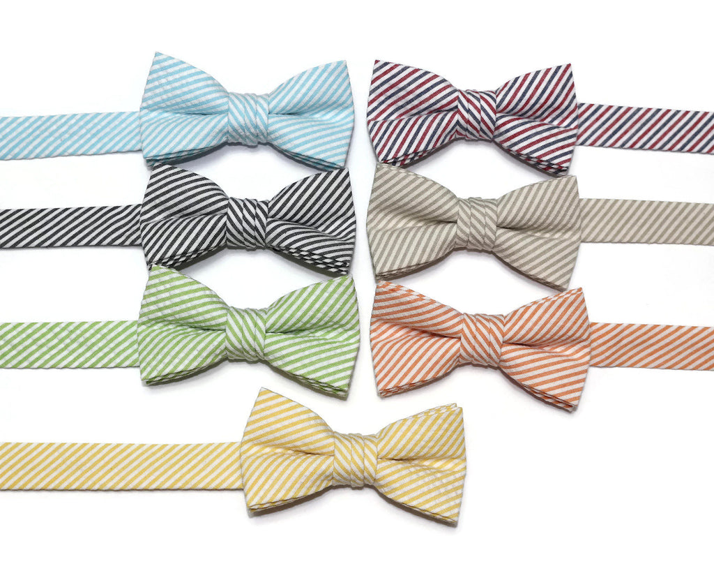 Stripe Seersucker Bow Tie - Boys