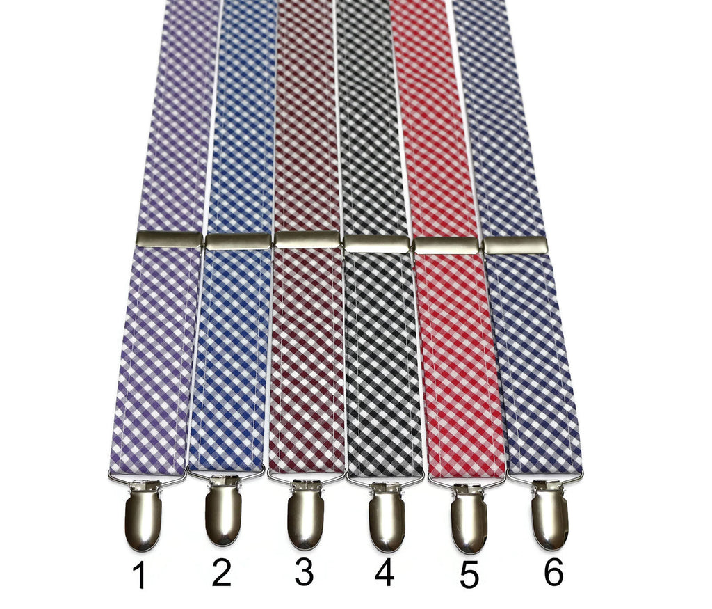 Gingham Check Suspenders - Mens