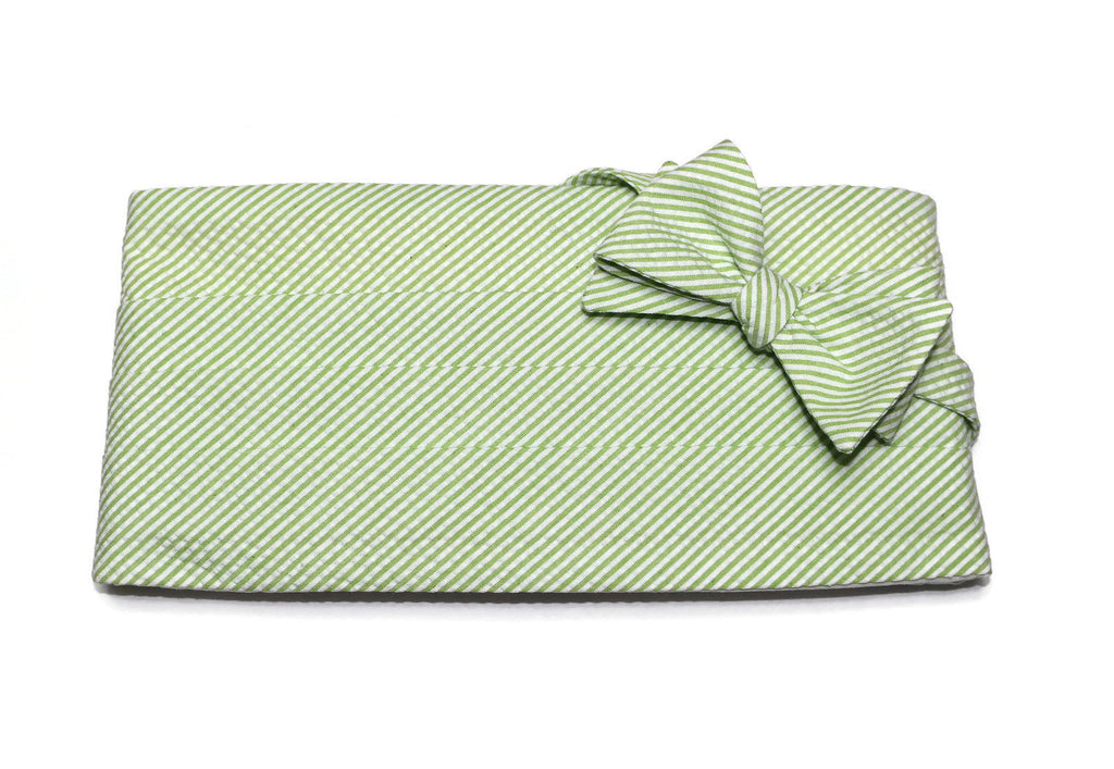 Lime Green Seersucker Cummerbund & Bow Tie