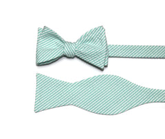 Mint Green Seersucker Cummerbund & Bow Tie