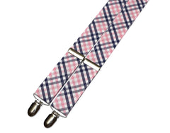 Pink & Navy Tattersall Suspenders - Mens