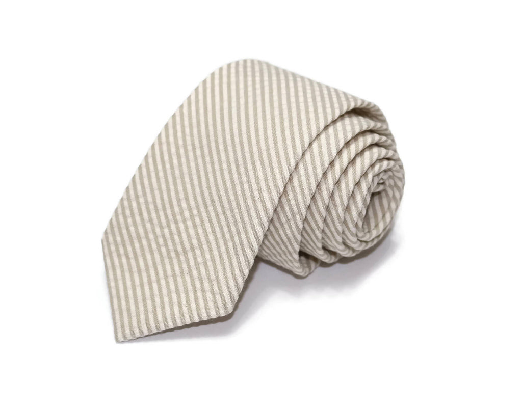 Khaki Seersucker Necktie - Youth