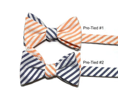 Orange & Navy Seersucker Cummerbund & Bow Tie