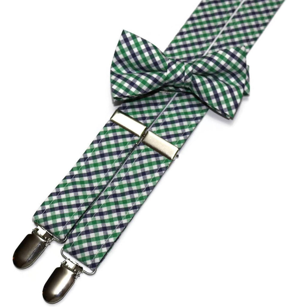 e3420782fbc9 Boys Kelly Green & Navy Tattersall Suspenders – HoBo Ties