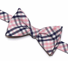 Pink & Navy Tattersall Bow Tie
