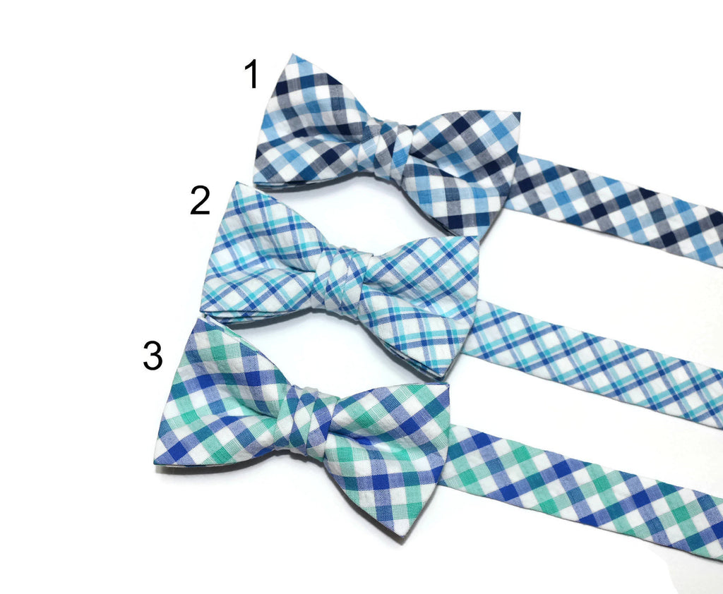 Seersucker Plaid Bow Tie - Boys
