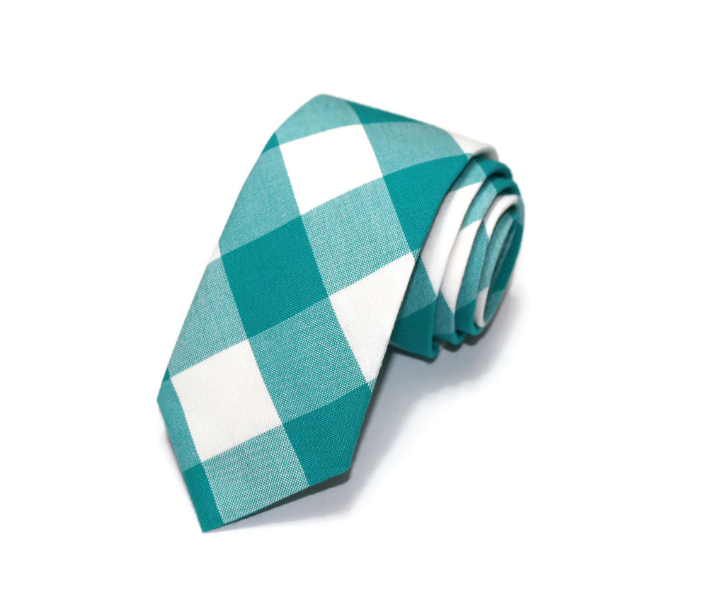 Jade Buffalo Plaid Necktie - Youth