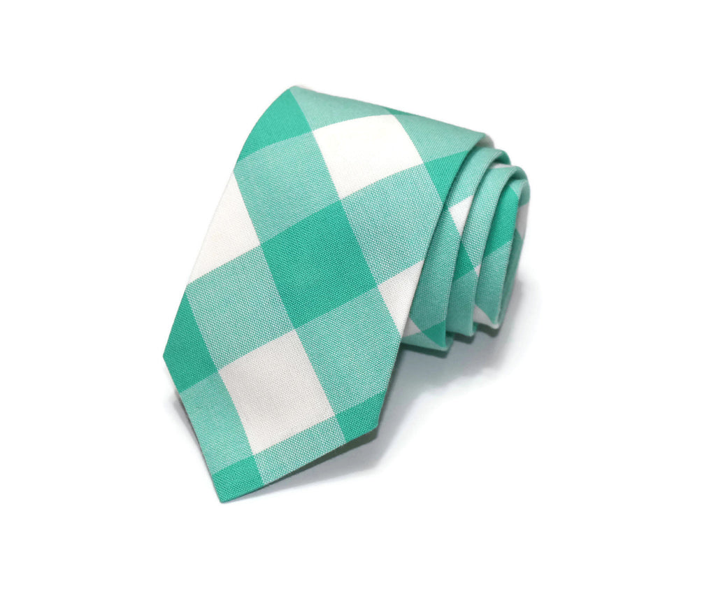 Seafoam Buffalo Plaid Necktie - Youth