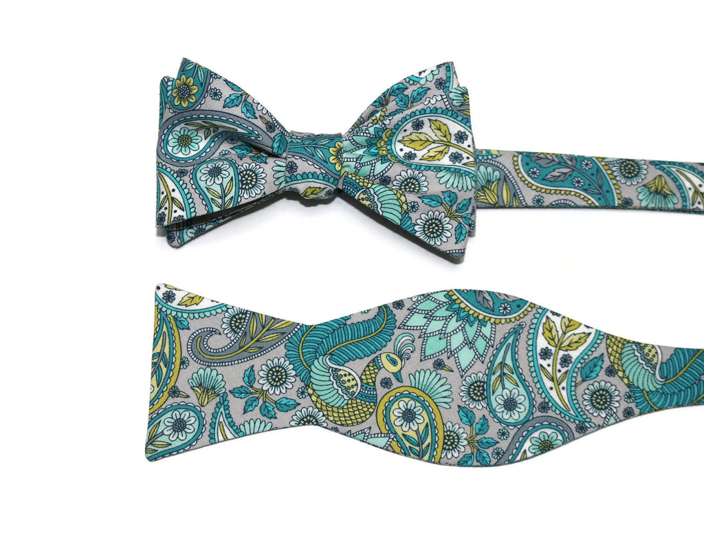 Teal & Gray Floral Paisley Bow Tie