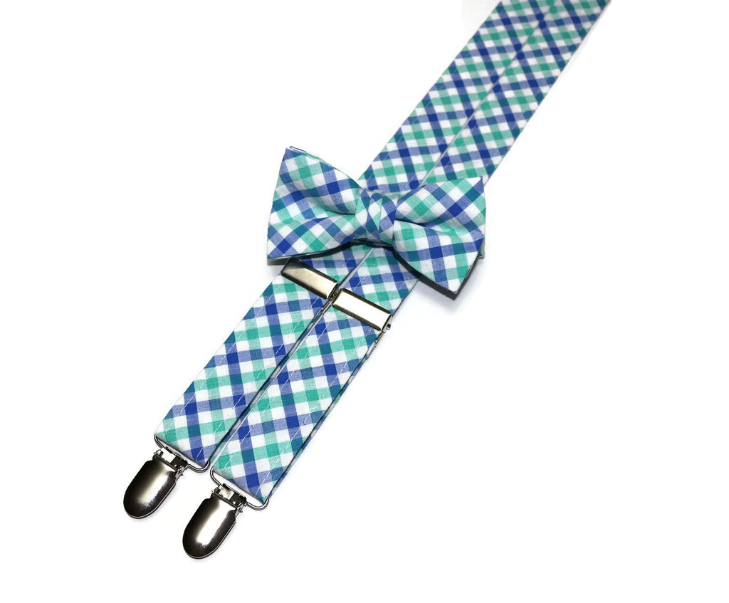 Green & Blue Plaid Seersucker Suspenders - Boys
