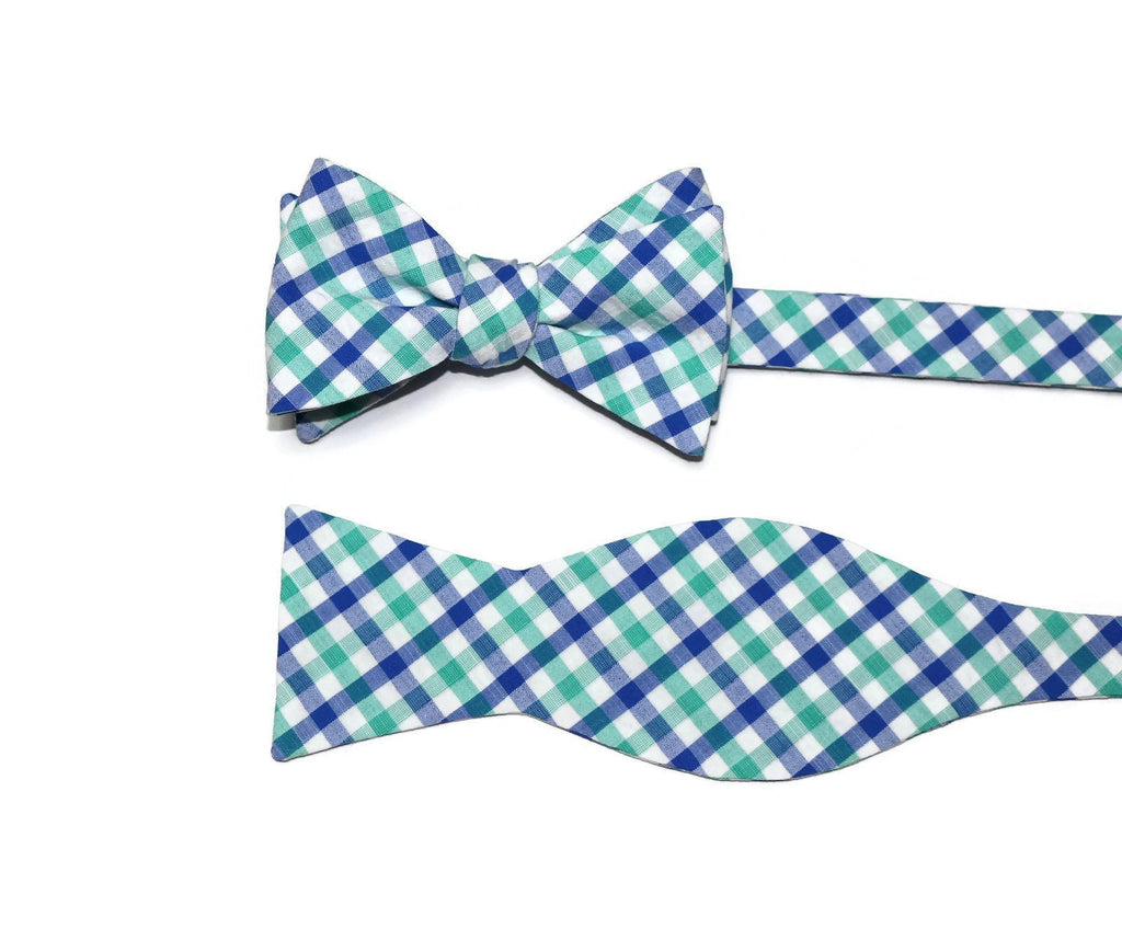 Green & Blue Seersucker Plaid Bow Tie