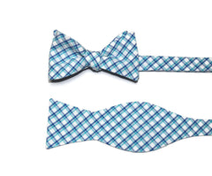 Turquoise & Blue Seersucker Plaid Bow Tie